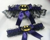 Handmade Batman wedding garters black and plum purple garter