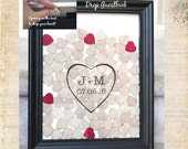 Drop Wedding guestbook with hearts to sign personalized custom color many sizes