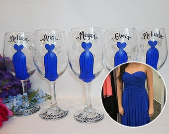 Hand Painted Bridesmaid Champagne Glasses, EXACT Dress REPLICAS, Bridesmaid Wine Glasses, Bridal Party Glassware, Bridesmaid Gifts, Flutes