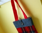 SALE Red Plaid and Denim Tote Bag Purse: made from recycled blanket wool and denim. Long handles.