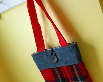 Handmade recycled bag, tote bag, recycled tote, market bag, tote, etsy handmade purse, red purse, plaid blanket purse
