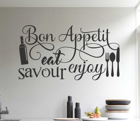 Bon Appetit Kitchen Word Collage, Vinyl Wall Lettering, Vinyl Wall Decals, Vinyl Decals, Vinyl Letters, Wall Quotes, Kitchen Decal