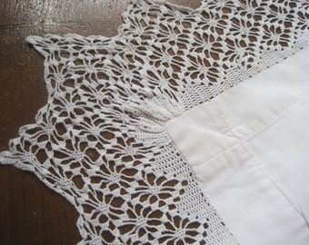 Beautiful antique French pillowcase with hand made lace and CB monogram, eurosham, square, cushion cover, bed linens