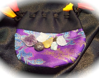 Manifestation Energy Power Pouch with 7 Natural Crystals and Stones FREE SHIPPING