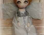 RESERVED DANIELLE inspired doll by Cindirella Drew Barrymore Primitive folk art doll big eye collectable Home decor OOAk