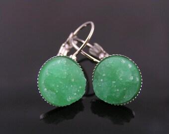 Green Earrings, Druzy Earrings, Green Cuff Earrings, Druzy Cabochon Earrings, Green Earrings, Silver Lever Back Earrings, Small Earrings