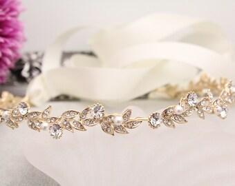 Gold Bridal hair accessories,Wedding headband,Wedding Hair Wreaths & Tiaras,Bridal headband gold pearl headband,Tiaras Wedding hair piece