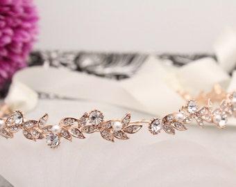 Wedding Hair Wreaths & Tiaras,Rose gold Bridal headband,Wedding hair accessories,Pearl tiaras and headband,Wedding hair vine,Ribbon headband