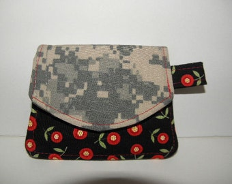 Army ACU and Mary Engelbreit Flowers Little Wallet