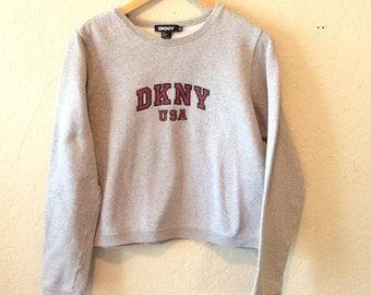 Vtg DKNY Cropped Grey Sweatshirt