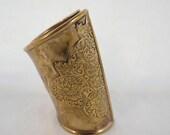 Egyptian Revival Extra Wide Brass Ornate Cuff BOHO Bracelet