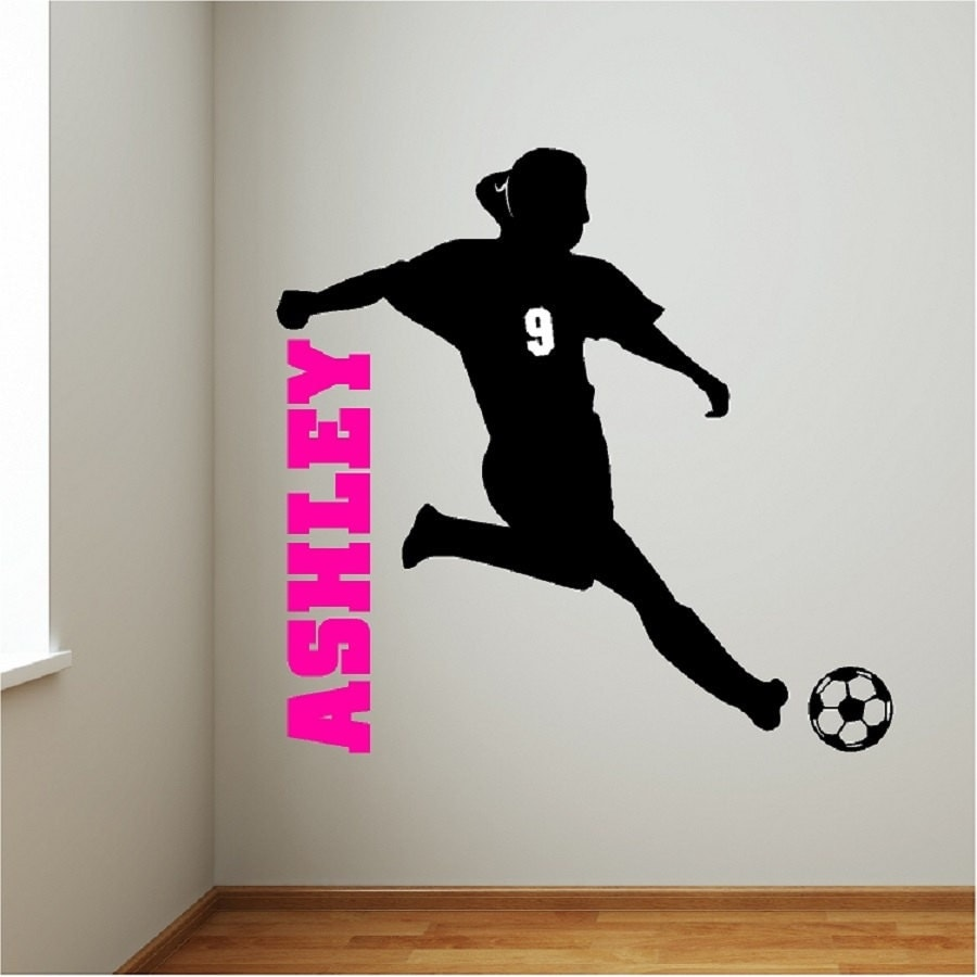 Personalized soccer girl wall decal removable soccer wall for Custom wall mural decals