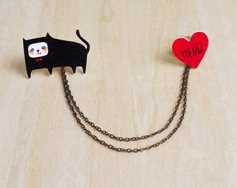 The Cat's Meow Collar Pins with Double Chain - Handmade Shrink Plastic Brooches - Wearable Art - Made to Order
