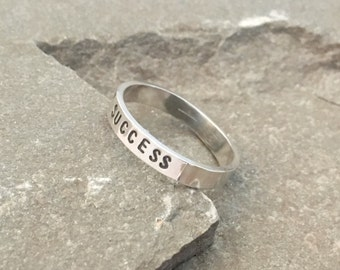 Personalized Success Affirmation Ring,  Stacking Ring, Stackable Mantra Ring, Mantra Ring, Stacking Ring, Affirmation Ring, Mantra Stacking