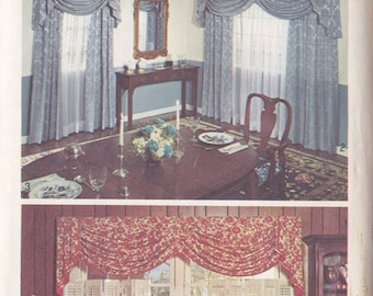 Simplicity Window Treatment & Home Decor Drapes and Curtains Pattern ~ Jabots With Side Panels ~ Simplicity # 6196 One Size ~ Factory Folded