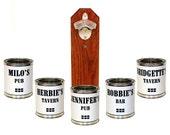 Personalized Bar Accessory Custom Wall Mounted Bottle Opener with Cap Catcher - Customized Gift for Guy - Beer Gift for Him