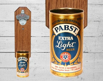 Wall Mounted Bottle Opener with Vintage Pabst LiteBeer C an Cap Catcher - Groomsman Gift