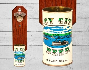 Key City Wall Mounted Bottle Opener with Vintage Beer Can Cap Catcher - Gift for Groomsmen