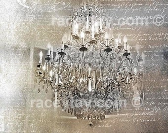 Chandelier Wall Art, Gold, Silver, Paris Print, Chandelier, Paris Art, Dreamy, Chandelier Art Print