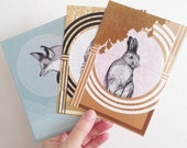 Dreamy Animals Postcard Set of 3, Fox Owl Hare