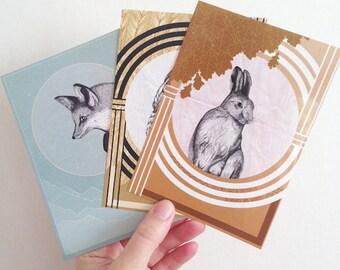 Dreamy Animals Postcard Set of 3, Fox Owl Hare