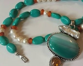 Beautiful and Fresh necklace Turquoise  Pearl  and amber with pendant