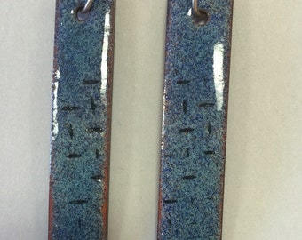 Copper enameled earrings   Blue