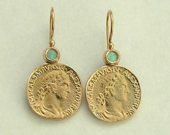 Coin gold earrings, Opal jewelry, October birthstone earrings, 14k yellow gold earrings, Antique Style Coin Earrings - Retrospect EG7925