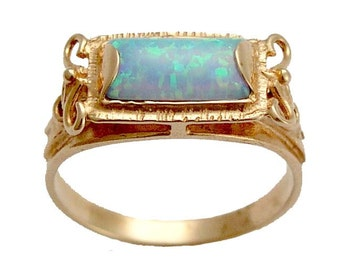 Solid Rose Gold Opal Ring, rectangle gemstone ring, engagement ring, altrnative ring, antique style ring - The sky is the limit. RG1400-2