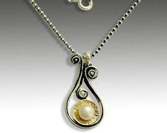 Silver gold necklace, fresh water pearl necklace, Sterling silver necklace, teardrop pendant, two tones necklace - Little secrets N4638G