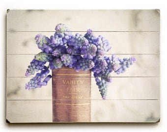 Wood Sign Art, Purple Flowers on Wood Planks, Cottage Decor,  Purple Hyacinth Photography, Spring Hyacinth Wood Panel Art Cottage Chic Decor
