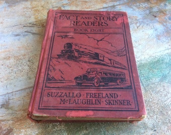 Antique book vintage red trains cars facts and story readers eight suzzallo freeland mclaughlin skinner 30s