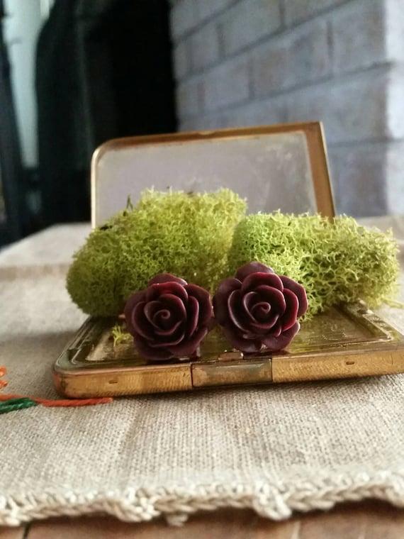 Flower Plugs, Wedding Gauges, Prom Gauges,  Burgundy, Red, Roses