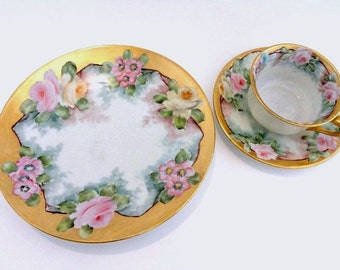 Gorgeous Vintage Dessert Luncheon Set Gilded Gold with Pink Roses Cup, Sauce//Gilded Gold Dessert Set//