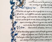 8 1/2x11/Hippocratic Oath/ Blue/Custom Calligraphy/Print of Original/Old World/Gift for MD/Doctor/On White 67 lb Paper/Medical Student Gift