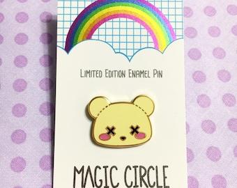 Pastel Goth Deaddy Bear Limited Edition Hard Enamel Lapel Pin - Gold Finish