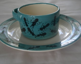 Vintage Ant Farm Theme Ceramic Cup and Saucer signed Alli Cat