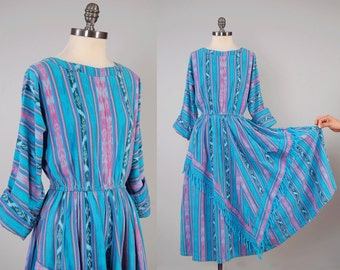 Vintage GUATEMALAN hand woven cotton IKAT dress / Elastic waist and full skirt / Dolman sleeves and POCKETS