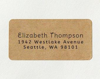 Return Address Labels - Design #07, Simple Address Labels, Brown Kraft Address Labels, Custom Printed Labels, Wedding Return Address Labels
