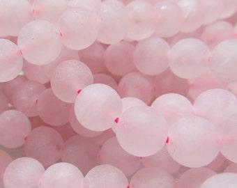Rose Quartz Beads 8mm Matte Powder Pink Quartz Smooth Round Beads - 16 inch Strand