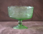 Compote Pedestal Dish--Vintage E.O. Brody Co M6000 Compote Dish--Green Fruit Bowl-Green Candy Dish-Pedestal Serving Dish-70s