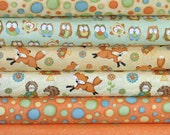 Orange and Yellow Colorway Cotton Quilt Fabric Bundle from Shelly Comiskey's Hoot Hoot Hooray! Collection for Henry Glass Fabrics