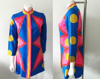 Vintage 1960s Vera Newman Silk Op Art Tunic / Mini Dress