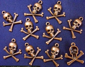 10 Copper skulls jewelry pendant charms ant copper plated skull findings cfp085