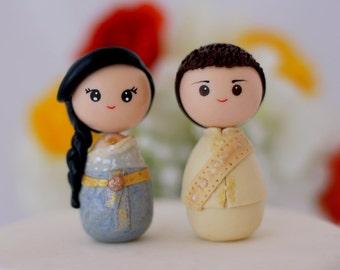 Personalized Thai wedding cake topper kokeshi figurines