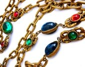 """Vintage 1950s Corocraft Gold Textured Long Lariet Rope 52"""" Necklace Chain with Green, Red and Blue Cabochon Glass Stones"""