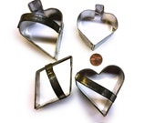 4 Vintage Cookie Cutters in the Form of Suit of Cards - Spade Spade  Heart Diamond Card Playing Cookie Forms - Valentine Cookie Cutter