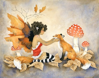 Fox Sister - Fairy Art Original Watercolor Painting - 11x14 - fantasy. whimsical. woodland. animal. cute. wild.