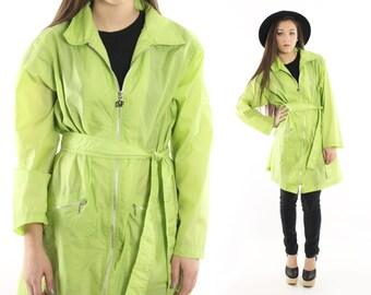 Vintage 90s Wind Breaker Jacket Diane von Furstenberg Lime Green Nylon Trench Coat 1990s Large L DVF