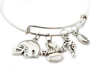 Football Charm Bracelet Bangle  Jewelry Expandable for the Teen Girl or Adult Woman